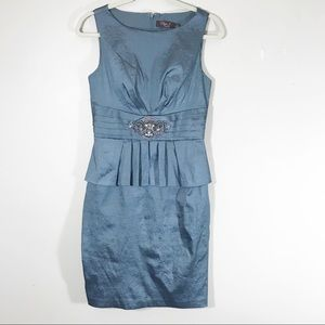 Eliza J blue silver sleeveless dress peplum brooch